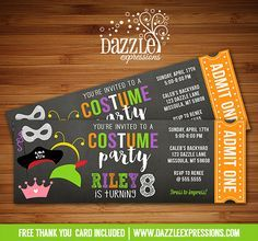 Printable Costume Party Chalkboard Ticket Birthday Invitation | Dress Up | Kids Halloween Party | DIY Print Your Own | Digital File | FREE thank you card included | Printable Matching Party Package Decorations Available! Banner | Signs | Labels | Favor Tags | Water Bottle Labels and more! www.dazzleexpressions.com