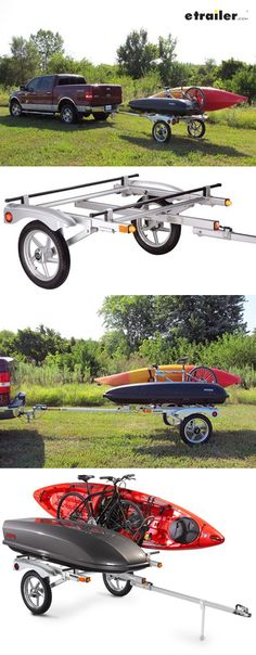 """This premium, lightweight sport trailer is the perfect way to haul your boats or bikes, using integrated, adjustable, 66"""" crossbars as anchor points. The pull-behind roof rack hauls 250 lbs and conveniently stores in your garage."""
