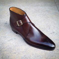 Burnished Monk Single Buckle Strap Plain Pointed Tip Real Leather Shoes for Men - Dress/Formal Leather Heels, Leather Men, Real Leather, Soft Leather, Brown Leather, Suede Leather, Shoes 2018, Burgundy Shoes, Black Shoes
