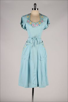 vintage 1940s dress . sky blue embroidered by millstreetvintage
