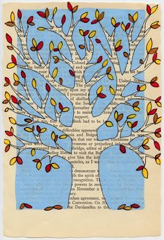 fall tree book page art