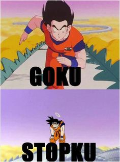 11 Funny Dragon Ball Z Memes: GO-ku! STOP-ku! Dragon Ball Z Meme http://anime.about.com/od/toppicks/ss/These-Dragon-Ball-Z-Memes-Are-Hilarious.htm - Visit now for 3D Dragon Ball Z shirts now on sale!