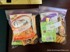 Love this idea- individual snack bags.  Here are your snacks for the outing.  Eat them whenever you want, but when they're gone, they're gone.  These are the snacks you can choose from.