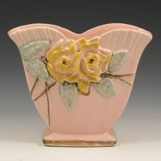 McCoy Wild Rose #801 Vase  liveauctioneers..com