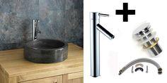 Click Basin Circular Black Limestone Padua Countertop Wash Basin With Mixer and Plug Set reduced to clear Stone Basin, Smooth Lines, Black Granite, Mixer Taps, Natural Stones, Sink, Cleaning, Countertop, Modern