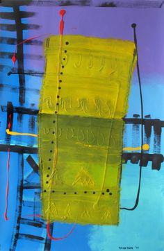 ST 23. Arte, Acrílico, Óleo, Galería, Interiorismo, Gráfica, Tinta, Decoración. Abstracto Amarillo Azul Painting, Blue Yellow, Blue Nails, Acrylic Art, Ink, Abstract, Paintings, Artists, Painting Art