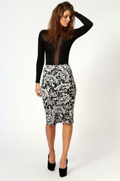 """I always feel like skirts need to be batterns and need to stand out, because I find they're very difficult to work into an outfit otherwise. Pale skirts with no colouring are usually a straight up """"no"""" for me, but I really love the design of this. On it's own, it's great. http://www.boohoo.com/europe/clothing/dresses/icat/dresses/evening-dresses/amanda-flocked-sleeveless-peplum-midi-dress/invt/azz57884"""