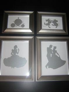 Framed nursery art, disney princess silhouette, Cinderella art, once upon a time, fairytale #Recipes