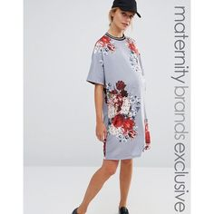 Bluebelle Maternity Floral Printed Shift Dress With Rib Trim (€32) ❤ liked on Polyvore featuring maternity and multi