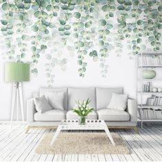 Watercolor Hand Painted Dark Green Vine Leaves Wallpaper Wall Mural, Spring Green Vine Leaf Wall Mural, Watercolor Hand Pained Vine Mural - My rooms ideas - Home Design, Wall Design, Interior Design, Modern Design, Design Ideas, Wall Wallpaper, Leaves Wallpaper, Watercolor Wallpaper, Wallpaper For Walls