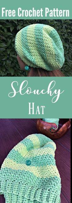 Free striped slouchy hat pattern | women's hat | crochet slouch hat | free crochet slouchy hat | stripes | learn to crochet a hat | crochet for cancer | bamboo yarn hat | free pattern | crochet tutorial
