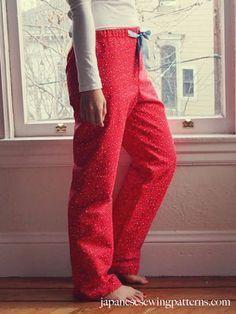 Patrones de costura japoneses - post - PJ pijama Patrón de las mujeres libres de los pantalones de costura