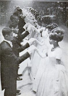 How elegant! Here was a debutante ball in the late 1950s, or possibly early 1960s. The hair and dresses are just so elegant! (And the couples look rather smashing, too!)