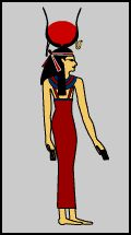 Hathor = Pamina. Godess of love and joy. Headpiece is gown and a sun disk.