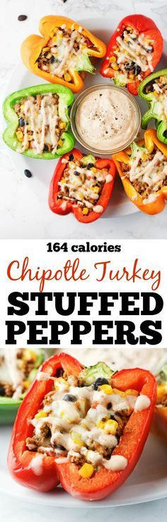 Chipotle Turkey Stuffed Peppers - Deliciously protein packed bell peppers, stuffed with lean ground turkey, black beans, corn and topped with a chipotle drizzle. Low carb, gluten free and delicious! http://www.itscheatdayeveryday.com