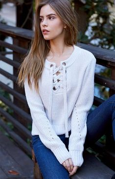 Chunky Lace-Up Pullover Sweater Pacsun 2cbc3a2af