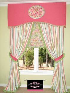 Stitch Above The Rest, LLC Custom made window treatments, little girls room, embroidered cornice, drapes, shade