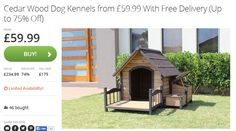 Up to 75% Off Cedar Wood Dog Kennels from £59.99 FREE DELIVERY at GroupOn