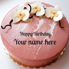 Beautiful Mirror Glazed Floral Birthday Cake With Name On Awesome CakeCreative For Wishes NamePersonalized Pink