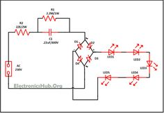 Mains Operated LED Circuit Diagram. Source Link: http://www.electronicshub.org/mains-operated-led-light-circuit/
