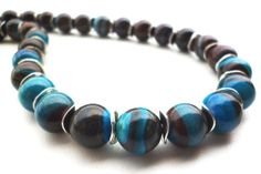 Blue Banded Jasper Necklace  Brown and Blue by BigSkiesJewellery, $47.00