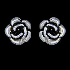 Silver earrings, rose Silver earrings, Ag 925/1000 - sterling silver. Stud earrings with a friction back - rose.  Dimensions approx. 4x4mm. Price per pair.