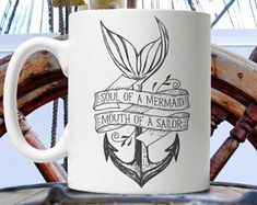 Soul of a Mermaid, Mouth of a Sailor - Anchor - Color Accent Mug - or Mermaid Outfit, Mermaid Clothes, Mermaid Anchor Tattoo, Teacup Tattoo, Art Deco Tattoo, Sailor Tattoos, Mermaid Mugs, Anchor Tattoos, Merfolk