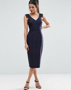 ASOS V Front V Back Pencil Dress in Stripe