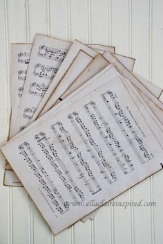 {Ella Claire}: How to Make New Sheet Music Look Old~ Perfect for Christmas Crafts!