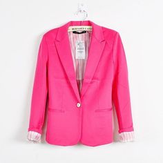 Candy Color Womens Blazer Single Button Slim Blazer Feminino 2016 Casual Suit Coat Plus Size XXL XS Blazer jaqueta feminina