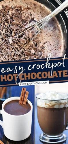 Gourmet Hot Chocolate Recipe, Crockpot Hot Chocolate, Homemade Hot Chocolate, Hot Chocolate Bars, Homemade Food, Easy Delicious Recipes, Simple Recipes, Fall Recipes, Delicious Food