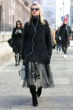 Black turtleneck and and full skirt...#NYFW