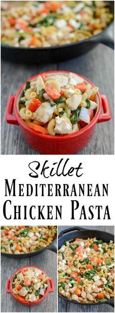 Skillet Mediterranean Chicken Pasta 8 Healthy Pasta Recipes, Healthy Pastas, Easy Healthy Dinners, Clean Eating Recipes, Baby Food Recipes, Cooking Recipes, Healthy Food, Easy Dinners, Healthy Options