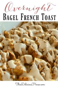 Sweet and delicious Overnight Bagel French Toast is topped with a maple cream cheese glaze. This dish is pure perfection and great for breakfast or brunch. #frenchtoastcasserole #bagelcasserole Recipes Breakfast French Toast, Crockpot French Toast, French Toast Bake, French Toast Casserole, Sweet Breakfast, Breakfast Casserole, Breakfast Crockpot, Morning Breakfast, Morning Food