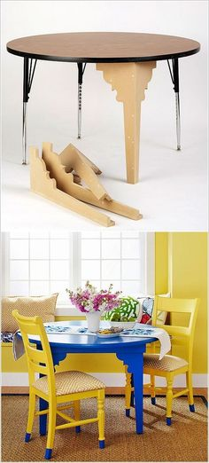 DIY furniture transformation - new life to an old table. Cool legs