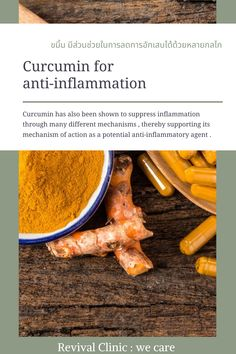 Curcumin has also been shown to suppress inflammation through many different mechanisms , thereby supporting its mechanism of action as a potential anti-inflammatory agent . Turmeric, Action, Nutrition, Health, Group Action, Health Care, Salud