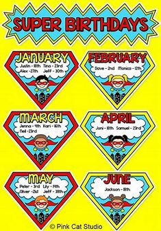 Superhero Theme Birthday Board - Superhero Classroom Theme Birthday Display - Celebrate students' birthdays with this SUPER fun Superhero theme birthday board! Superhero School Theme, Superhero Kids, School Themes, School Fun, Superhero Preschool, Superhero Alphabet, Superhero Party, New Classroom, Classroom Displays