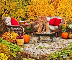 Consider situating your outdoor space to take full advantage of the privacy, shade, and beauty nature has to offer. Here, fall leaves provide the perfect backdrop to wicker outdoor furniture. Consistent with the natural feel, simple patio pavers delineate the space.