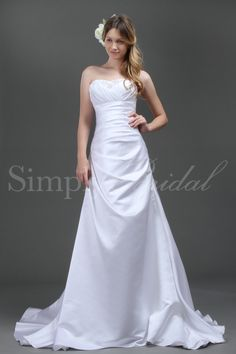 $215.99 w/o shipping, $255.99 w/ shipping ~ Name: Emily Gown.  SKU#: 80001.  Silhouette: A-Line.  Neckline: Sweetheart.  Train: Court.  Fabric: Satin.  Back Closure: Corset Back.