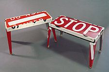 "Rest Stop Bench by Boris Bally (Metal Bench) (18.38"" x 32"")"
