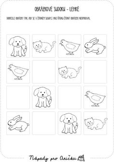 Pracovní listy | Nápady pro Aničku.cz Preschool Projects, Crafts For Kids, Craft Kids, Pre School, Farm Animals, Worksheets, Homeschool, Coding, Games