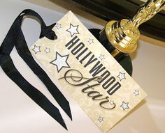 "Hollywood parties are known for their terrific ""swag"" bags! So when gathering all those goodies to give to guests at your Hollywood Glamour Party, make sure to print out these free printable tags for the true Hollywood star treatment! - JPG saved. X"