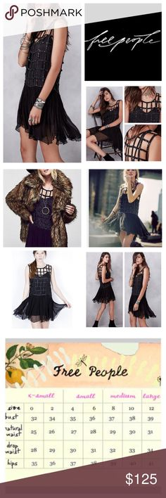 """🆕Free People Black Sequin Shell Dress.  NWOT. 🆕Free People Black Sequin Shell Mini Dress, 100% viscose, dry clean, 17.5"""" armpit to armpit (35"""" all around), 36"""" dropped waist, 34"""" length, super luxe vintage-inspired dropwaist mini dress featuring a sequin and beaded caged top and a crinkly chiffon swingy skirt, detachable adjustable slip lining, measurements are approx.  New without tag, never worn.  NO TRADES Free People Dresses Mini"""