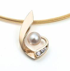 14k gold cultured pearl and diamond pendant, June birthstone, diamond jewelry, artisan necklace, gold pendant, anniversary, wedding - 3466