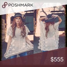 "Boho Cotton Crochet Poncho Cotton crochet poncho. Made with delicate detail and can be thrown on with effortless style. Worn as a tunic, dress or swimsuit cover-up. One size fits most.  30"" long. Chest measures approximately 21"" across from armpit to armpit. 👠 Sweaters Shrugs & Ponchos"