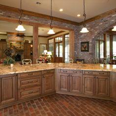 brick floor in kitchen