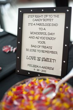 """""""step right up to the candy buffet. it's a fabulous end to a wonderful day. and as you enjoy your bag of treats be sure to remember love is sweet."""""""