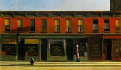Edward Hopper (1882-1967) Early Sunday Morning 1930, is a painting that can either be taken as a quiet and peaceful scene of small businesses that are closed or considered a comment on the Depression. His painting appears less a specific picture of New York and more an image of America.