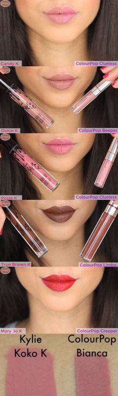 Colourpop Ultra Matte and Kylie Lip Dupes