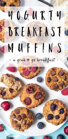 Summer Fruit Yogurty Breakfast Muffins Recipe - a lovely family friendly light breakfast recipe ideal for the summer months Easy To Make Breakfast, Best Breakfast Recipes, Brunch Recipes, Healthy Dinner Recipes, Summer Recipes, Delicious Recipes, Summer Desserts, Breakfast Ideas, Healthy Meals